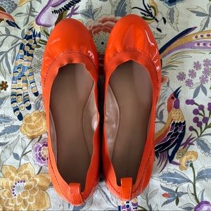 Banana Republic orange patent leather ballet flats